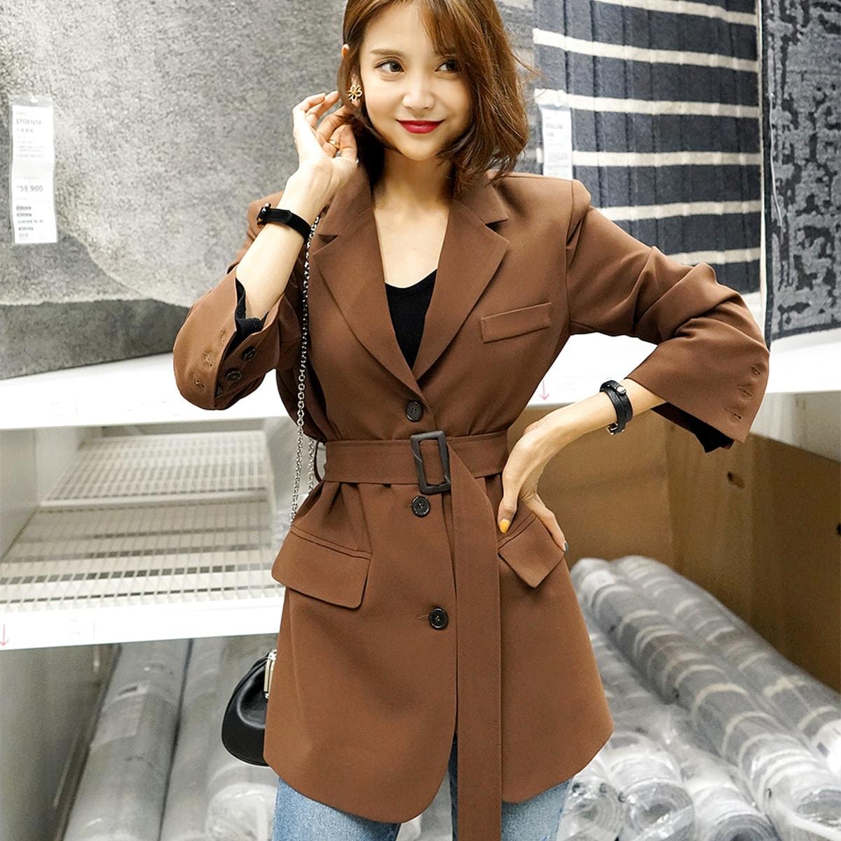 [韩国直邮] WINGS 韩国收腰系带西装外套女 #褐色 M(36-38) 怎么样 - 亚米网