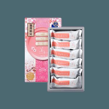 【樱花季限定】日本石屋制菓 白色恋人 美冬樱花千层酥 6枚入