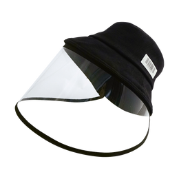 [Face Coverage] Sun Protection Fashion Hat with Detachable Transparent Face Cover #Black