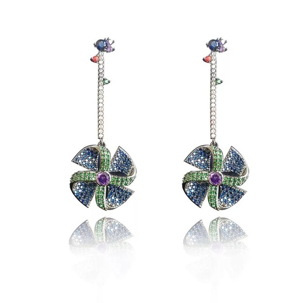 Product Detail - ARIEL Sterling silver crystal  windmill earrings - image 0