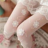 独角定制 性感连裤袜女 贴花钉珠丝袜超薄透明修身弹性裤袜 白色 1条