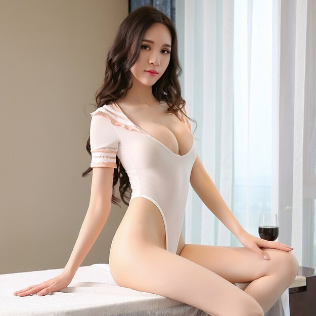 Product Detail - FEE ET MOI Student uniform temptation open file tight-fitting one-piece pajamas suit white - image 0