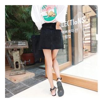 韩国MAGZERO [秋季新品] 休闲可爱牛仔短裙 #黑色 M(66/27-28)