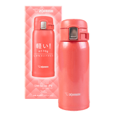 ZOJIRUSHI One Touch Stainless Steel Vacuum Thermal Bottle Coral Pink 360ml SM-SC36-PV