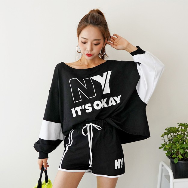 SSUMPARTY NY Sweatshirt+Ringer Shorts 2 Pieces Set #Black One Size(S-M)