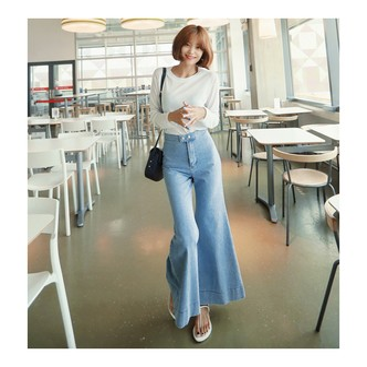 韩国MAGZERO 复古风牛仔喇叭裤 #浅牛仔 均码One Size(M/26-28)