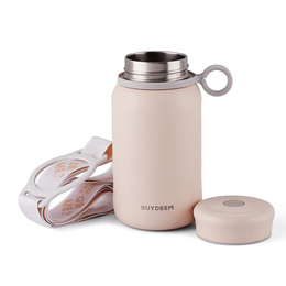 BUYDEEM Vacuum insulated stainless steel water bottle travel mug 300ml #pure pink 1pc