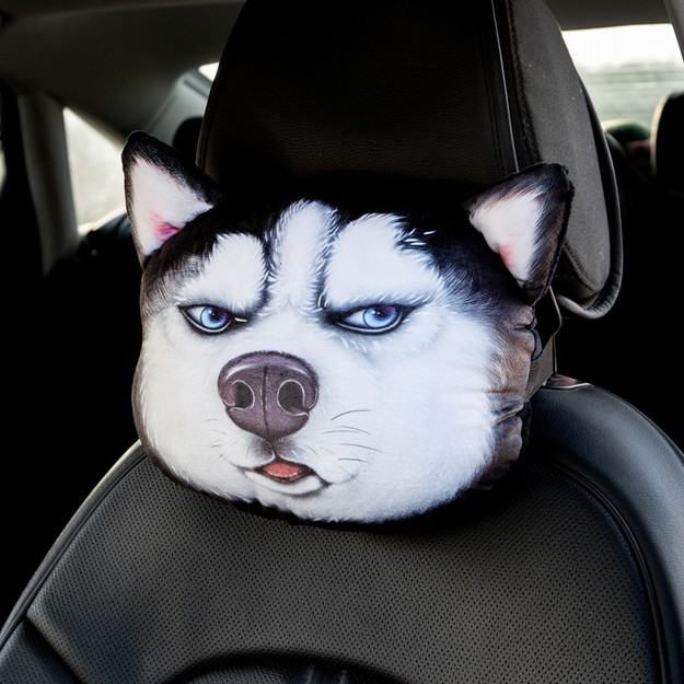 Product Detail - RAMBLE Creative 3D Simulation Dog Head Car Headrest Siberian Pillow Husky 1 piece - image 0