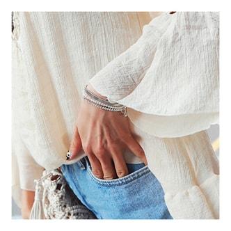 韩国MAGZERO [新品] 珍珠&金属手链 银色 三件套