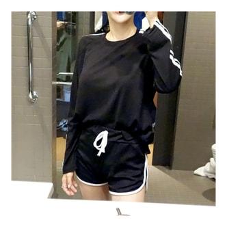 韩国MAGZERO 简约拼拼条休闲运动套装 #黑色 均码One Size(S-M)
