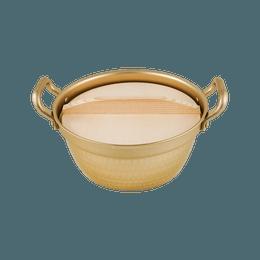 日本北陆HOKUA 小伝具 锤目紋邵和复古金色 复古木盖 双耳锅18.5cm 1.9L 泡面和麻辣烫的仪式感