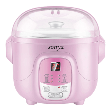 【Pre-order Shipped in 5~15 days】SONYA Ceramic Mini Slow Cooker Digital Electric Stew Pot 0.7L Pink SY-DGD8P