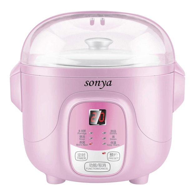 Product Detail - SONYA Ceramic Mini Slow Cooker Digital Electric Stew Pot 0.7L Pink SY-DGD8P - image 0