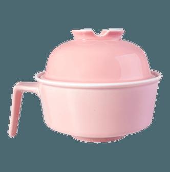 有只兔子 创意免洗洁精陶瓷泡面碗带盖饭碗 #粉红色 一件入