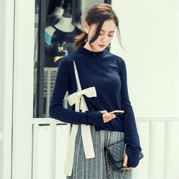 Product Detail - UNIQUEWHO Navy Blue Bowknot Lace Wool Sweater S - image  0