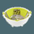 日本KOKUBO小久保 圆形可旋转180°可滤水双层洗菜盆脱水器 小号 苹果绿 BPA FREE 18cm-19cm 淘米洗菜轻松自如