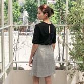 【韩国直邮】CHERRYKOKO 后背开叉设计T恤 黑色 free