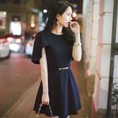 【现货】【韩国直邮】ATTRANGS 斗篷设计公主风连衣裙 深蓝色 均码