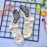 独角定制 原宿风潮袜女 趣味手掌贴布袜子 白色 1双