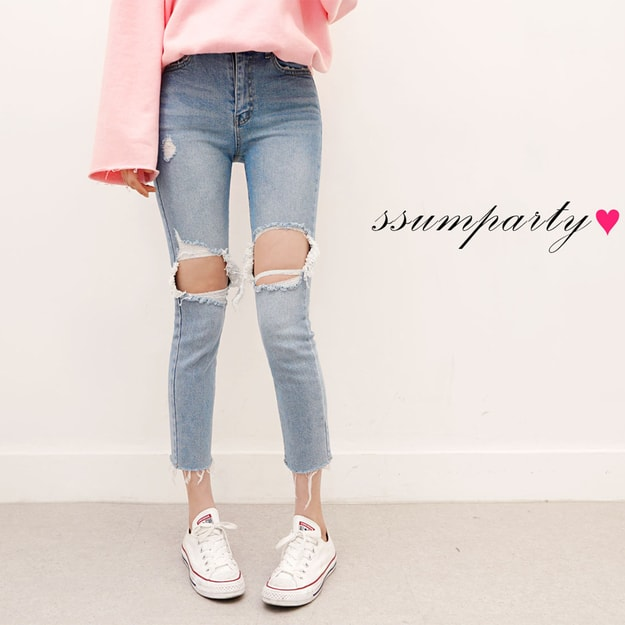 SSUMPARTY Mid High Rise Ripped Jeans #Light Blue (27)
