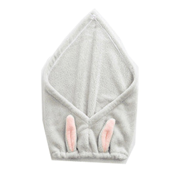 Product Detail - TIMESWOOD Cute Rabbit Ears Coral Fleece Hair Cap Shower Cap Hair Wiping Hair Quick Dry Towel Brown  1PC - image 0