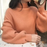 CHERRYKOKO High collar knit orange free size