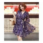 韩国正品 MAGZERO 碎花雪纺裙 #紫色 One Size(S-M) [免费配送]