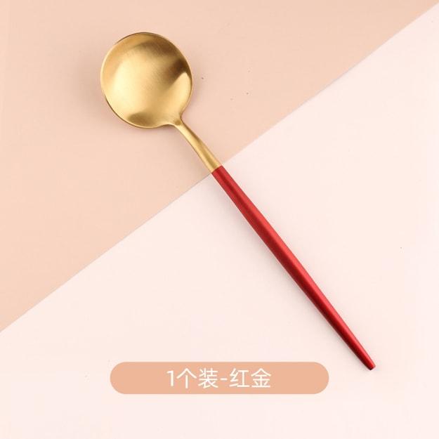 商品详情 - 买五送一 中国直邮北欧轻奢长柄汤勺子家用不锈钢吃饭网红创意韩式可爱 红金一只 - image  0