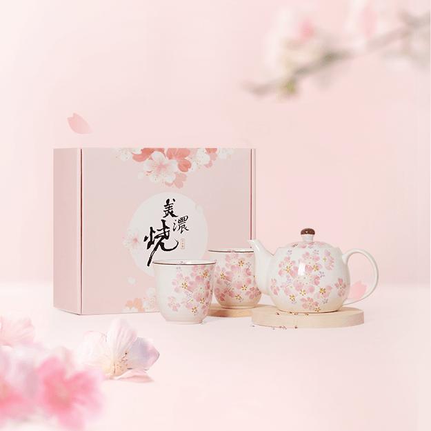 商品详情 - 网易严选日本美浓烧樱花茶具三件套 三件套礼盒装 - image  0