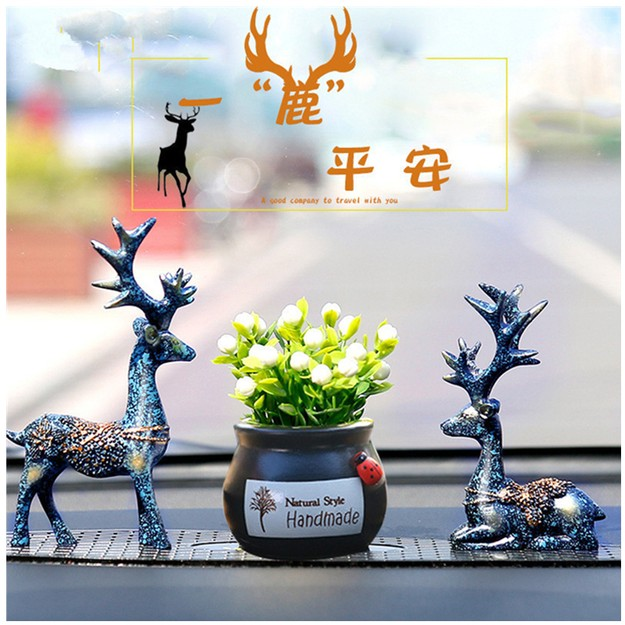 Product Detail - RAMBLE Car Ornaments Cute Deer Resin Crafts Table Decoration Car Creative Home Auto Interior Supplies Flower 1pc - image 0