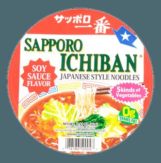日本SAPPORO ICHIBAN札幌一番  日式拉面 酱油味 碗装 84g