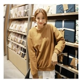 MAGZERO [Limited Quantity Sale] Oversized Pullover Sweatshirt Brown One Size(Free)
