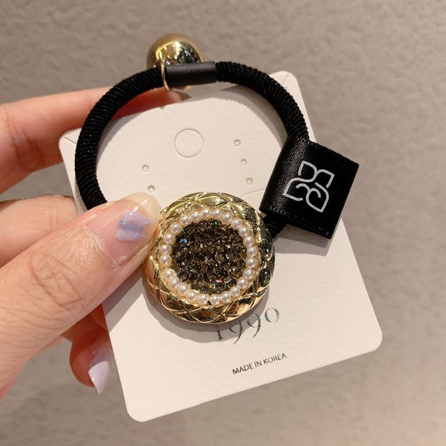 Product Detail - Cinderella\'s pearl hair circle full of diamond rope #grey - image 0