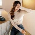 【韩国直邮】 SSUMPARTY 韩国罗纹长袖修身上衣女 #米黄色 均码(S-M)