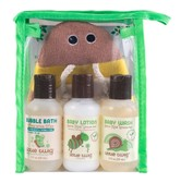 LITTLE TWIG Travel Basics Bee Unscented Set Baby Lotion Wash Bubble Bath and Mitt