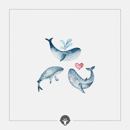 @BECOME Original Tattoo Stickers I am a whale Three Piece