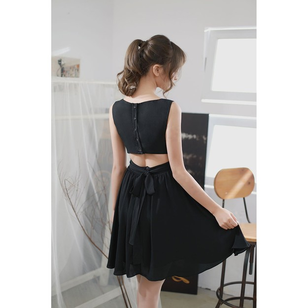 PRINSTORY 2018 Summer Open Back A-line Dress Black/S