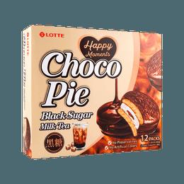 韩国LOTTE乐天 巧克力奶油夹心派 黑糖奶茶味 336g