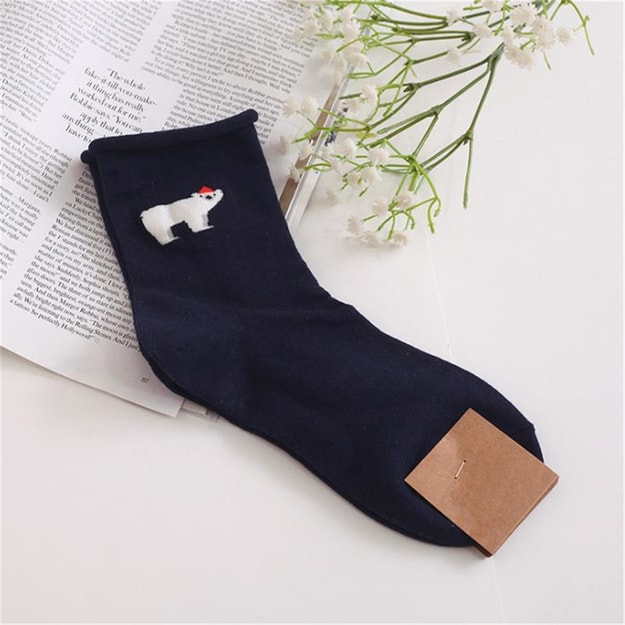 UNIQUEWHO Cute Animals Pure Cotton Socks for Women Girls Polar Bear 1 Pair