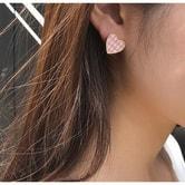 【韩国直邮】CHERRYKOKO Korean Heart-shaped plaid earrings red free