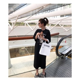 PRINSTORY 2019 Spring/Summer Printed T-shirt Dress/Black/S