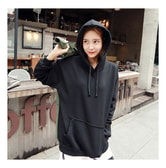KOREA MAGZERO Oversized Pullover Hoodie Black One Size(Free) [Free Shipping]