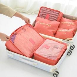 青苇 防水旅行收纳 行李箱整理袋 6件套 粉色