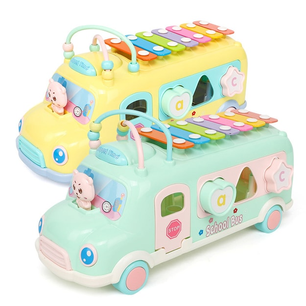 Product Detail - SANUO Infant Puzzle Early Education Toy Baby Percussion Instrument Fun Knock On The Piano Bus Green 1PC - image 0