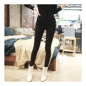 MAGZERO [2017 秋冬] 高腰弹力紧身牛仔裤 #黑色 中号(25-26)