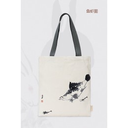 故宫 齐白石系列帆布包 手提袋单肩挎包帆布袋 #鱼虾图