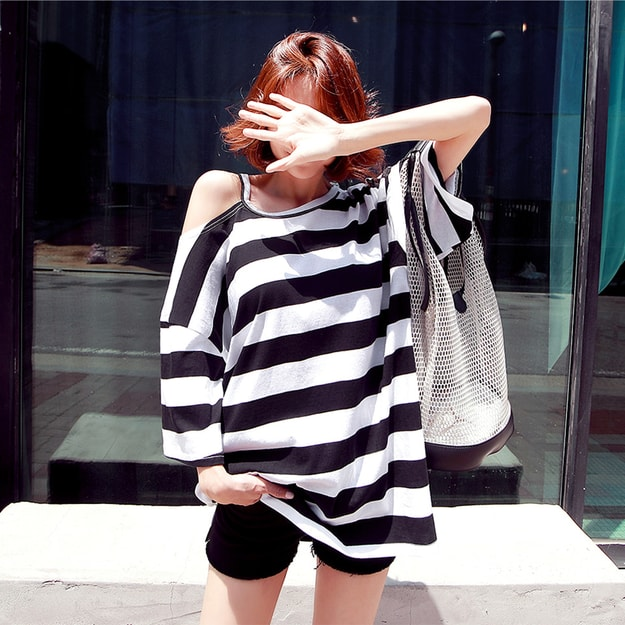 WINGS Striped Cold Shoulder T-Shirt #Black One Size(Free)