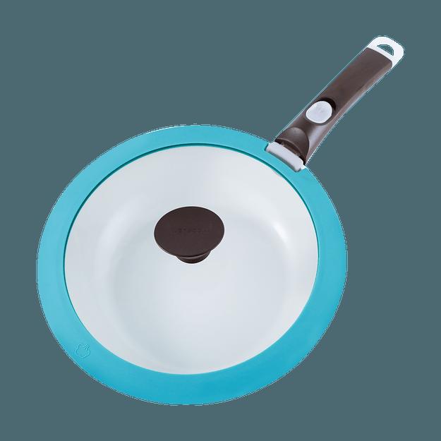 商品详情 - 韩国NEOFLAM 10寸 26cm 多功能深底炒锅煎锅厨师锅  含有玻璃锅盖和可拆卸手柄 三件套 #翠绿色 - image  0