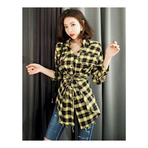 Product Detail - KOREA MAGZERO Distressed plaid corset shirt #Yellow One Size(S-M) [Free Shipping] - image 0