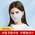 中国直邮冰丝防晒口罩透气防紫外线挂耳式可调露鼻护眼角夏季男女户外面罩 茶白
